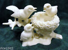 VINTAGE WHITE PORCELAIN MOTHER BIRD AND BABIES MARKED ORIOLE 6787 FIGURINE