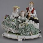 Large Porcelain Lace Figurine with 3 Figures, Figurengruppe, Dresden, Germany.