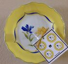 222 Fifth French Garden Round Appetizer Plates Yellow Floral Set 4 Dessert Plate