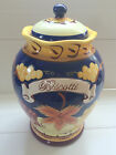 Nonni's Biscotti Cookie Jar Hand-Painted in Cobalt Blue with Grapes and Vines