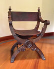 Vintage wood leather Savonarola hand carved chair, walnut(?)