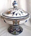 XL Oriental Accessory Accents Hand Painted Floral Lidded 2 Handle Pedestal Bowl