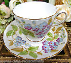 TUSCAN TEA CUP AND SAUCER PAINTED FLORAL PATTERN TEACUP BEADED VIOLETS