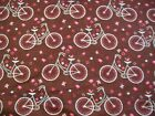 Floral Bike Snuggle Flannel Fabric BTY Pink Blue and Brown