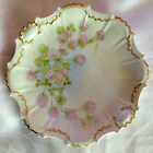 SUPERB ANTIQUE LIMOGES ARTIST-SIGNED COIFFE PLATE, PINK HEATHER, SCALLOPED c1891
