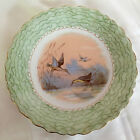 LOVELY ANTIQUE T&V LIMOGES HAND PAINTED BIRD PLATE, POND, GREEN BAND