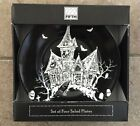222 Fifth HALLOWEEN House Of Fright Side Salad Plates Set Of 4 Haunted House