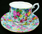 ROYAL ALBERT ENGLAND PINK YELLOW BLUE FLOWER CHINTZ GOLD TEA CUP AND SAUCER