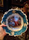 Antique VICTORIA AUSTRIA Elaborately HandPainted BLUE Porcelain Serving Bowl 9