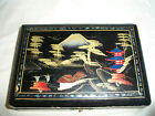 VINTAGE JAPAN PAINTED BLACK LACQUERED WOOD ABALONE INLAYS TRINKET JEWELRY BOX