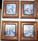 FOUR FRAMED MINTON PORCELAIN TILES 19TH C.