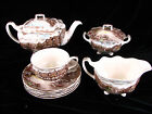 LOT JOHNSON BROS OLDE ENGLISH COUNTRYSIDE TEAPOT SUGAR CREAMER SAUCERS CUP BROWN