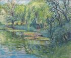 """Marcel-Louis Dega, 1900-1930, """"Water Lilies"""" Impressionist French Painting Child"""