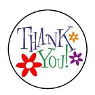 48 Thank You with Flowers ENVELOPE SEALS LABELS STICKERS 12 ROUND