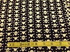 HALLOWEEN - SKULL & CROSS BONES AND HEARTS - BLACK AND WHITE - 1 YARD COTTON