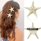 Hot Europe Fashion Women Lady Girls Pretty Natural Starfish Star Beige Hair Clip