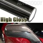 12 x 60 Premium 5D HIGH GLOSS Black Carbon Fiber Vinyl Bubble Free Air Release