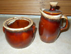 Hull Pottery, Brown Drip Glaze Cream and Sugar Bowl