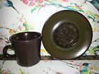 FRANCISCAN MADEIRA CUP & SAUCER SET GREEN BROWN STONEWARE EARTHENWARE VINTAGE