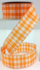 Wired Edge Orange & White Check Fabric Ribbon.  1 1/2