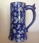 Antique Victoria Ironstone Large Ceramic Stein/Mug. Blue On White. Gorgeous!