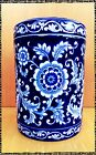 Pier-1 Fine China Hand painted Calico Blue Canister Jar with Lid Tall 9-7/ 8