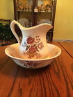Vtg/Antique Royal Crownford Charlotte Red Floral Ironstone Pitcher