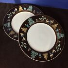 Fitz and Floyd Chinoiserie Temple Black Band Gold FF 41 SET 2 DINNER PLATES 10
