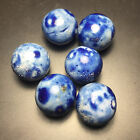 1 Antique Hand-Made Blue Fancy Bennington Glazed Clay Marbles .71in - .77in