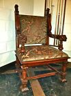 Antique English Solid Wood Club Chair w/lion head handles