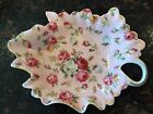 Royal Danube Vintage Pink Roses Gold Trim Chintz Decorative Candy Serving Dish