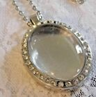 PHOTO Glass Locket Crystal Necklace Memory Keepsake Silver CHARM MOTHERS DAY