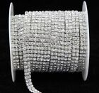 2-row3-row4-row5-row Crystal Rhinestone Trims Close Chain Silver Ss16 X1 Yard