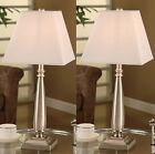 Brushed Nickel Table Lamp With Square White Shades ~Set of 2 Table Lamps~