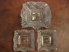 Vintage Diamond Point Clear Cut Glass Square Candy Dish, Ruffled Edge Lot of 3