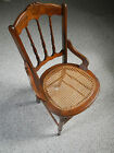 Antique Early Spindle Backed Inlaid Burl Wood Cane Seat Chair