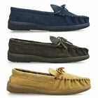 Mens Real Leather Suede Genuine Warm Winter Slip On Moccasin Slippers Shoe Size