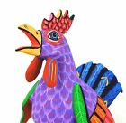 OAXACAN wood carving COLORFUL ROOSTER - DAMIAN MORALES - OAXACA