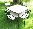 VINTAGE Cosco FOLDING CHAIRS and Table RETRO METAL CARD TABLE CHAIRS RARE Black