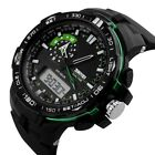 Men's Dual Analog Digital Sports Military Date LED Rubber Waterproof Wrist Watch