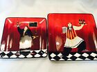 New nwt SET OF 2 Certified Intl BISTRO Watier Red SQUARE PLATES Jennifer Garant