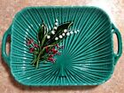 ANTIQUE GERMAN MAJOLICA Pottery PLATER SCHRAMBERG  Lily of the Valley 12 1/2 x8