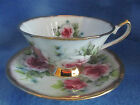Elizabethan Staffordshire Hand Decorated Fine Bone China Tea Cup Roses Gold Acc