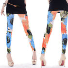 2015 Fashion Womens Sunflower Large Floral White Pant Stretch Skinny Leggings OS