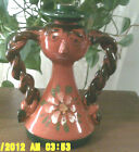 VINTAGE  FUNKY ITALY ART POTTERY HAND PAINTED WOMAN WITH BRAIDS CANDLE HOLDER