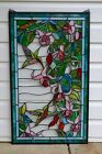 Large Handcrafted stained glass window panel Hummingbirds  Flower 2025 x 34