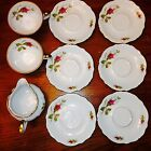 9 piece W. Eschenbach Briar Rose Fine White China 2 Cups, 6 Saucers