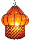 B67 AM Mouth Blown Glass Wrought Iron Amber Pendant Lampshade