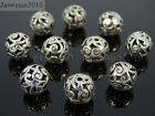 Tibetan Silver Carved Patterned Hollow Connector Round Spacer Charm Beads 8 12mm