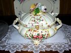 Vintage Tureen Bassano Italy  Ceramic  with Multi color Rose Design post 1940
